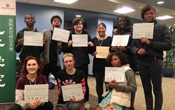 EHS Mandarin Students showing off their certificated from Cleveland State University