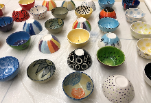 Bowls painted by art students