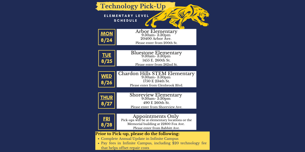 Euclid Panther with Technology Pick-Up Schedule for Elementary Schools