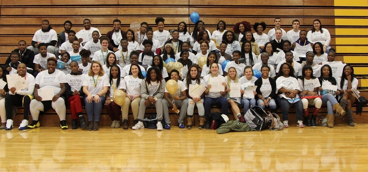 Group photo of seniors who were accepted to college on College Application Day.