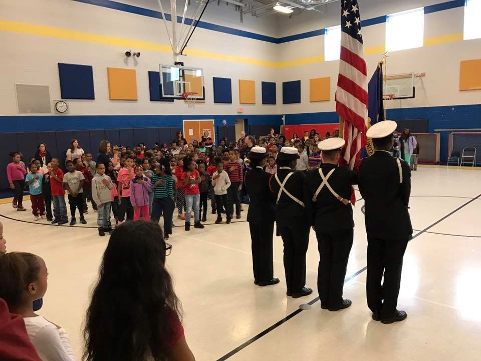 EHS NJROTC presenting the colors at Bluestone Elementary School