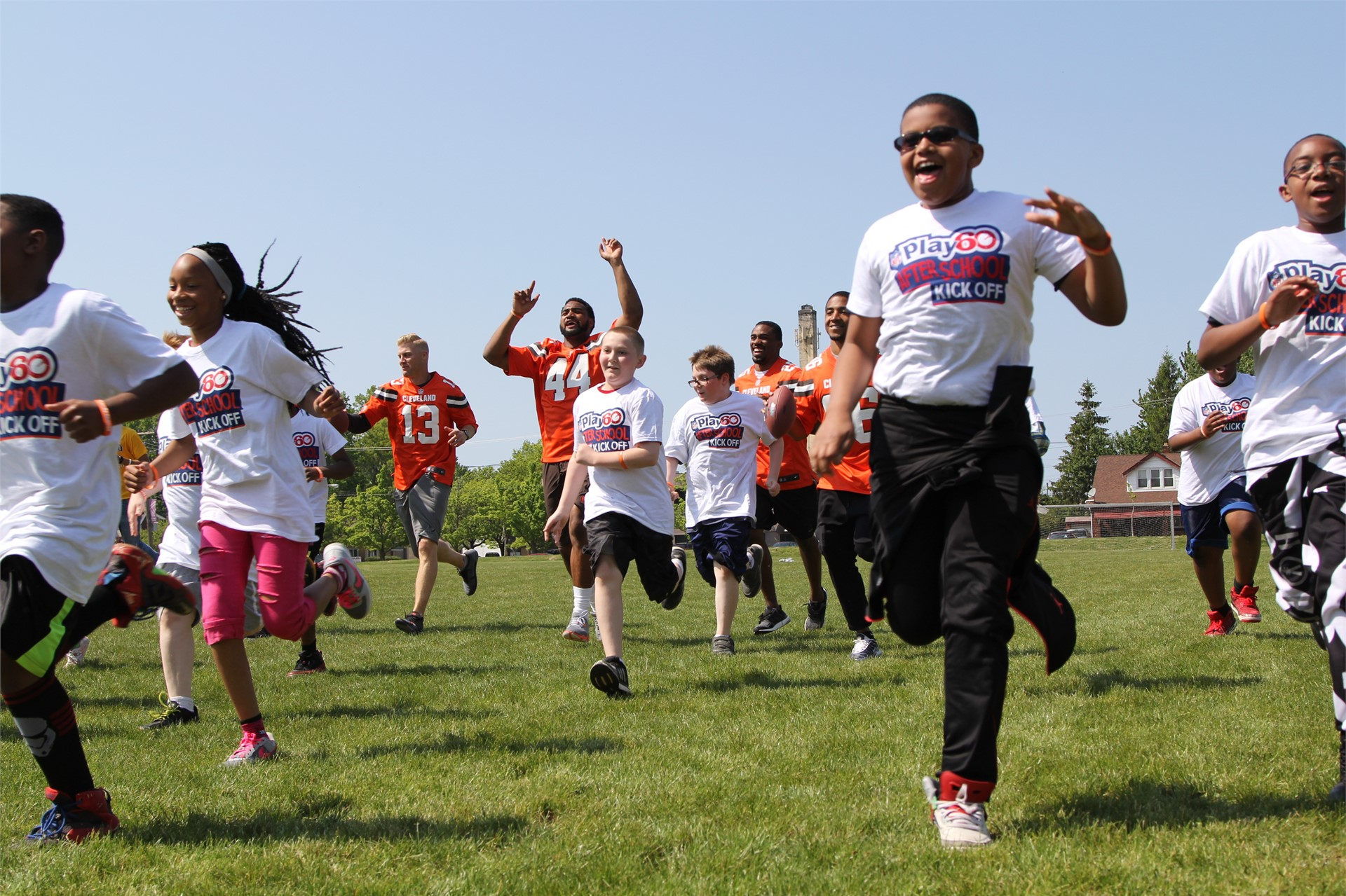 NFL Fuel Up to Play 60 winners running on the Arbor Soccer Field