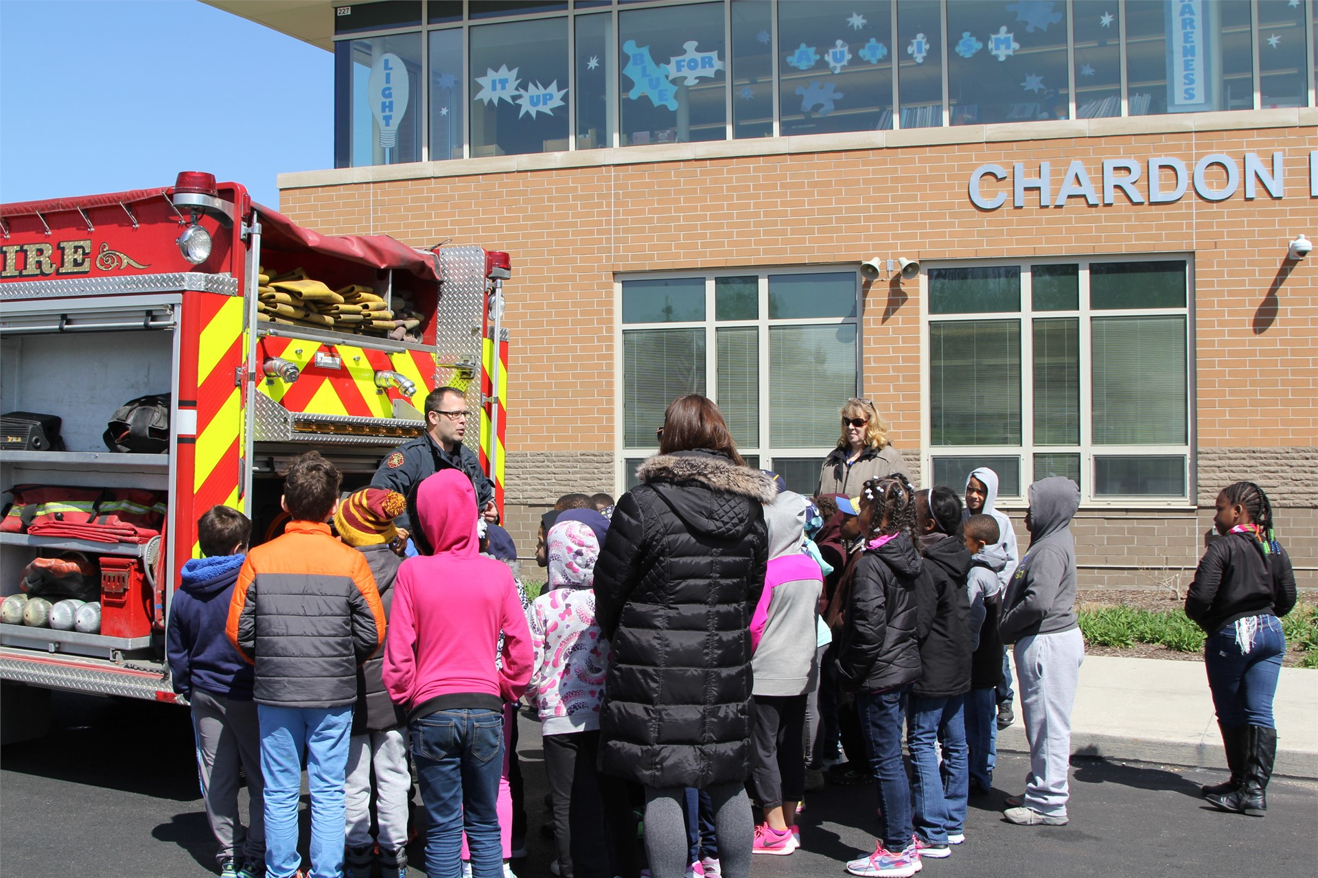 Chardon Hills students get a visit from the Euclid Fire Department