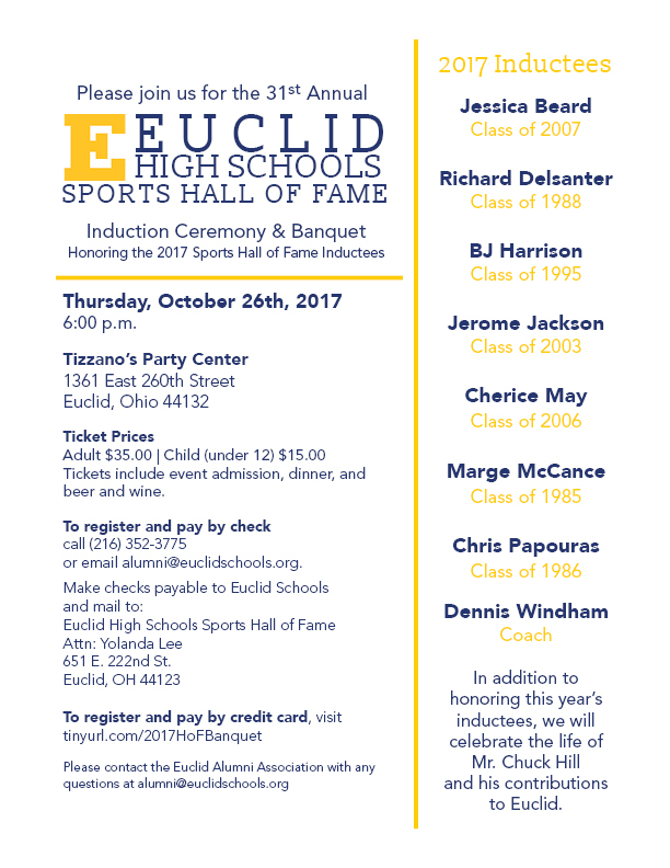31st Annual Euclid High Schools Sports Hall of Fame