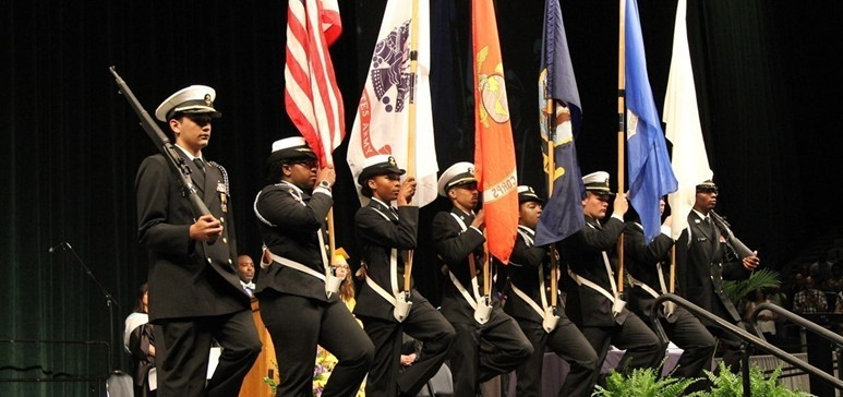 NJROTC at graduation presenting the colors.