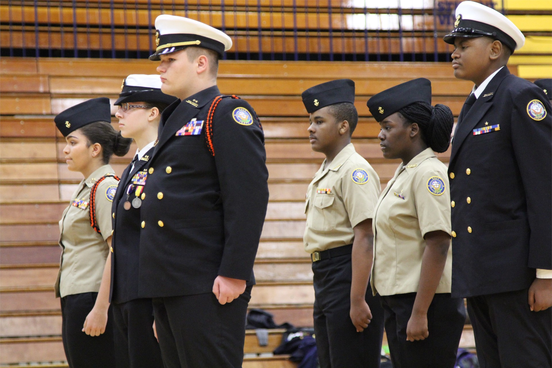 NJROTC students standing at attention