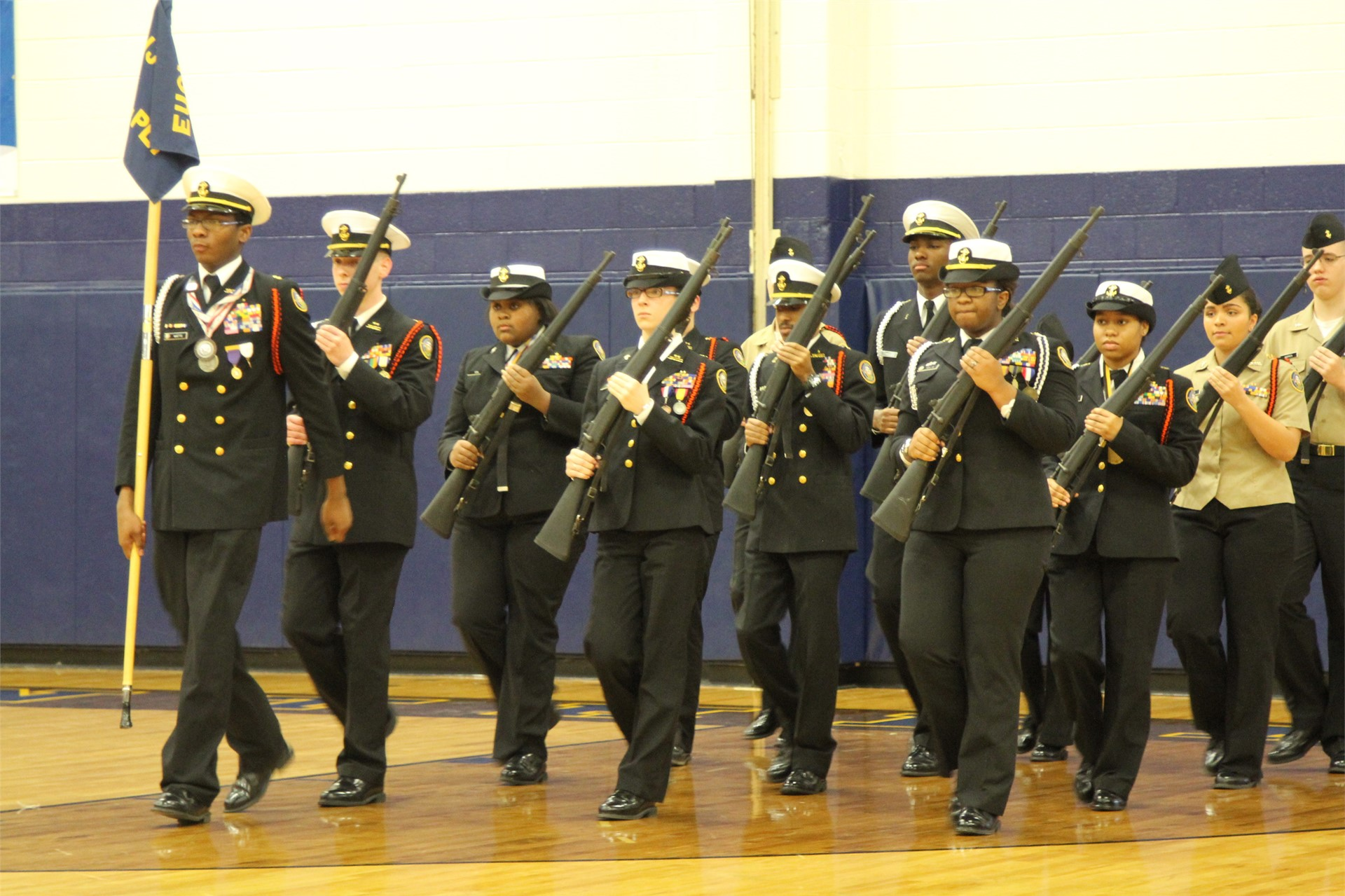 NJROTC students marching