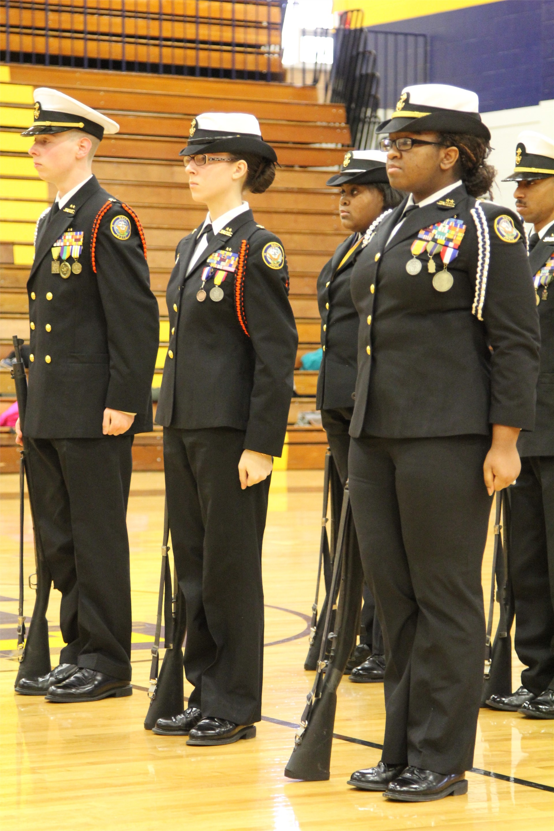 NJROTC students preparing for annual drill