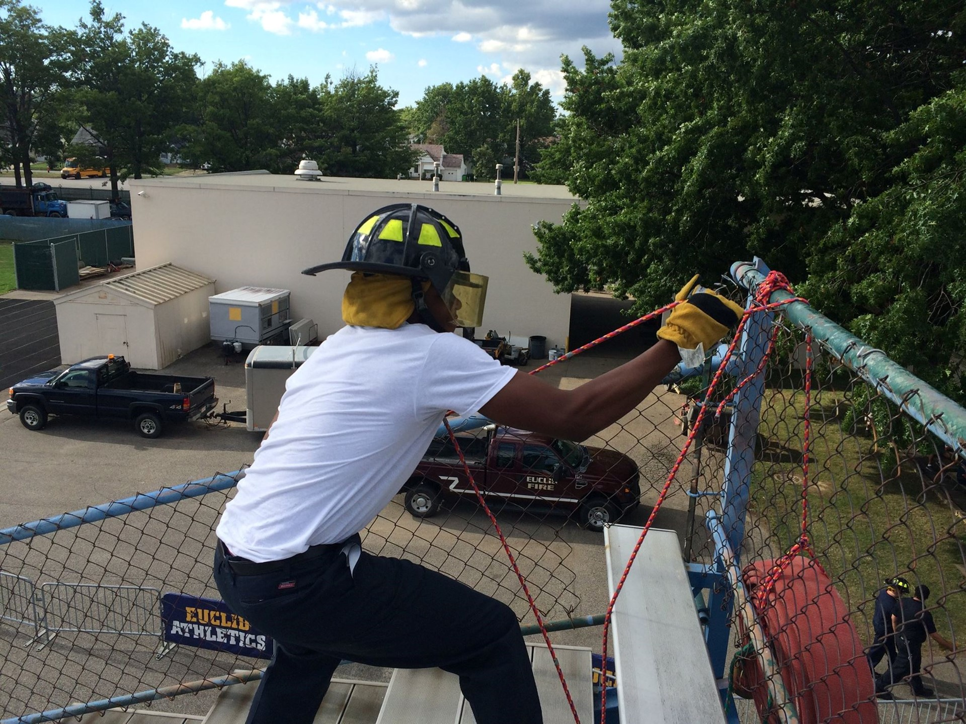 Fire Academy student doing a drill