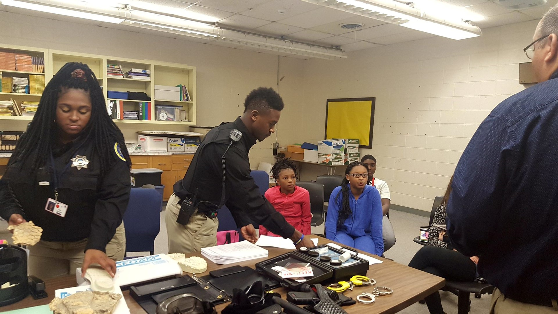 Criminal Justice students working on a project in class