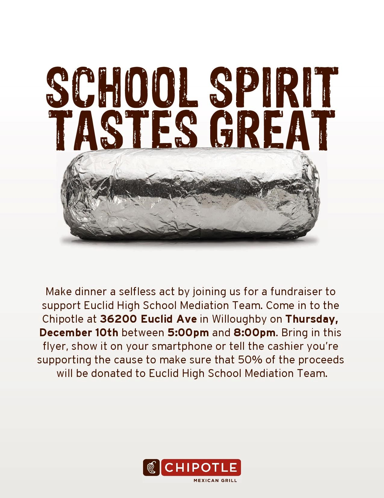 Chipotle Fundraiser Monday, May 8th