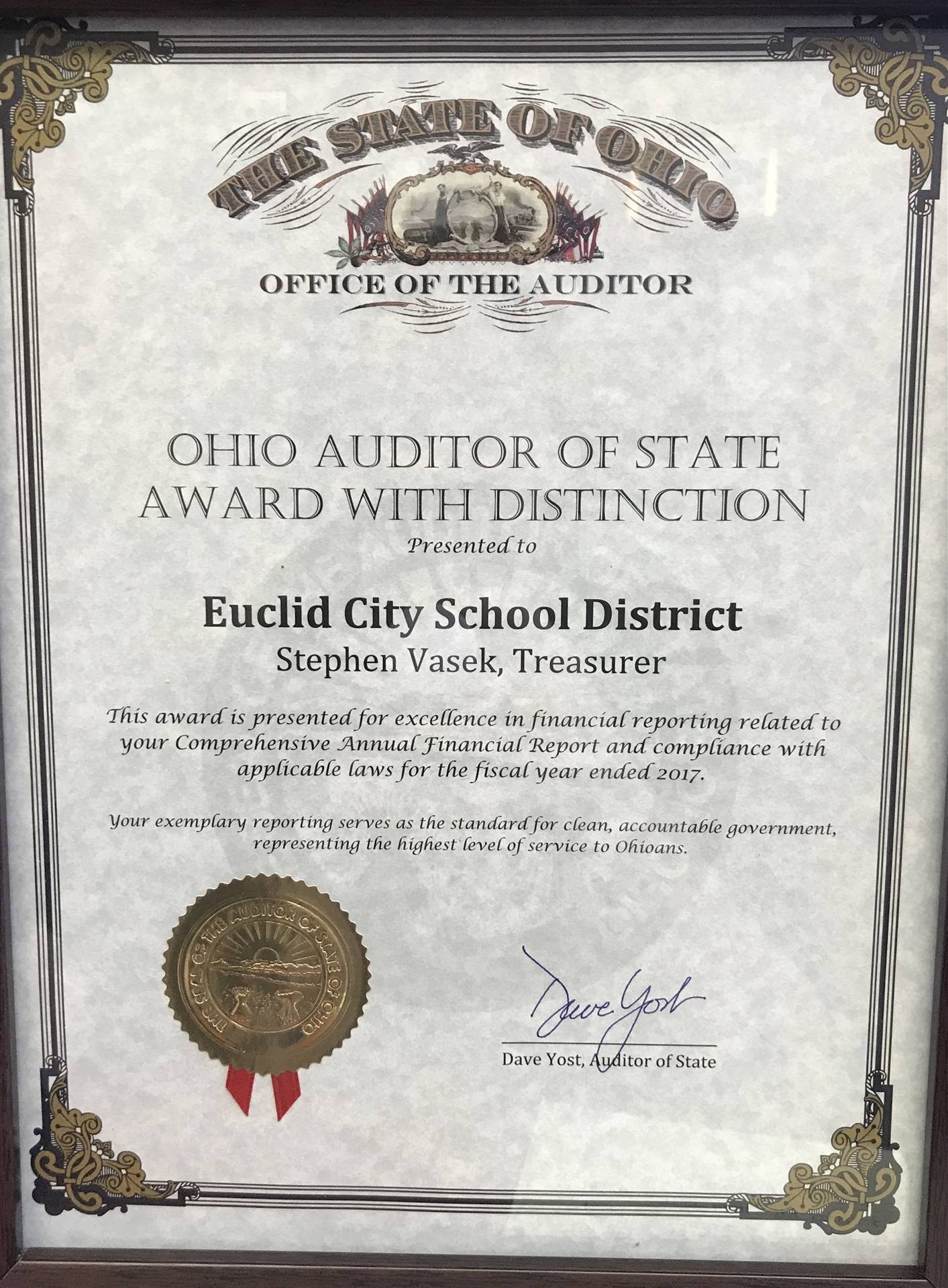 2017-2018 Ohio Auditor of State Award with Distinction