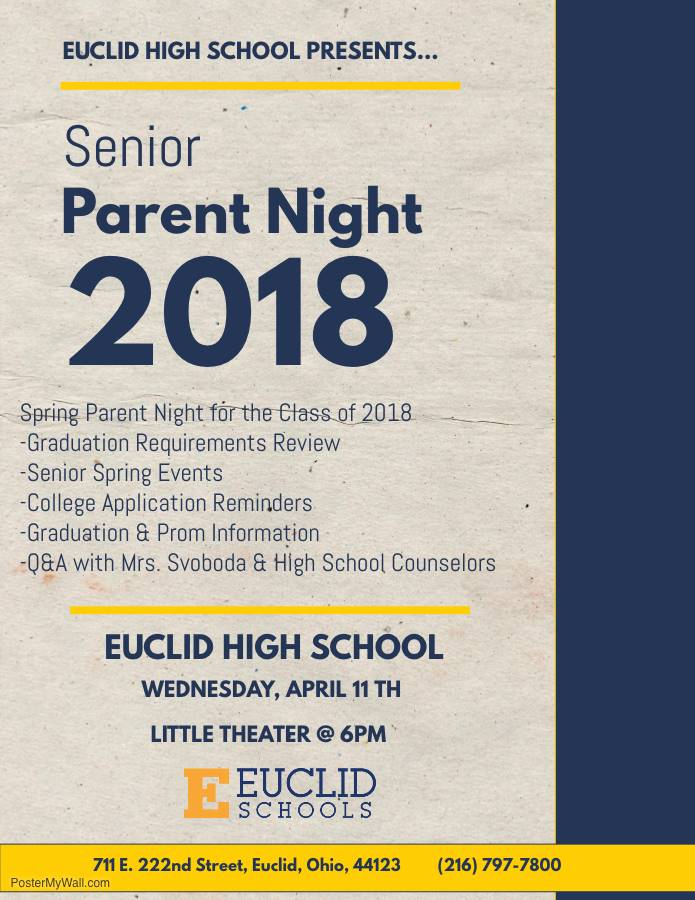 Senior Parent Night flyer 2018 on April 11, 2018 at Euclid High School