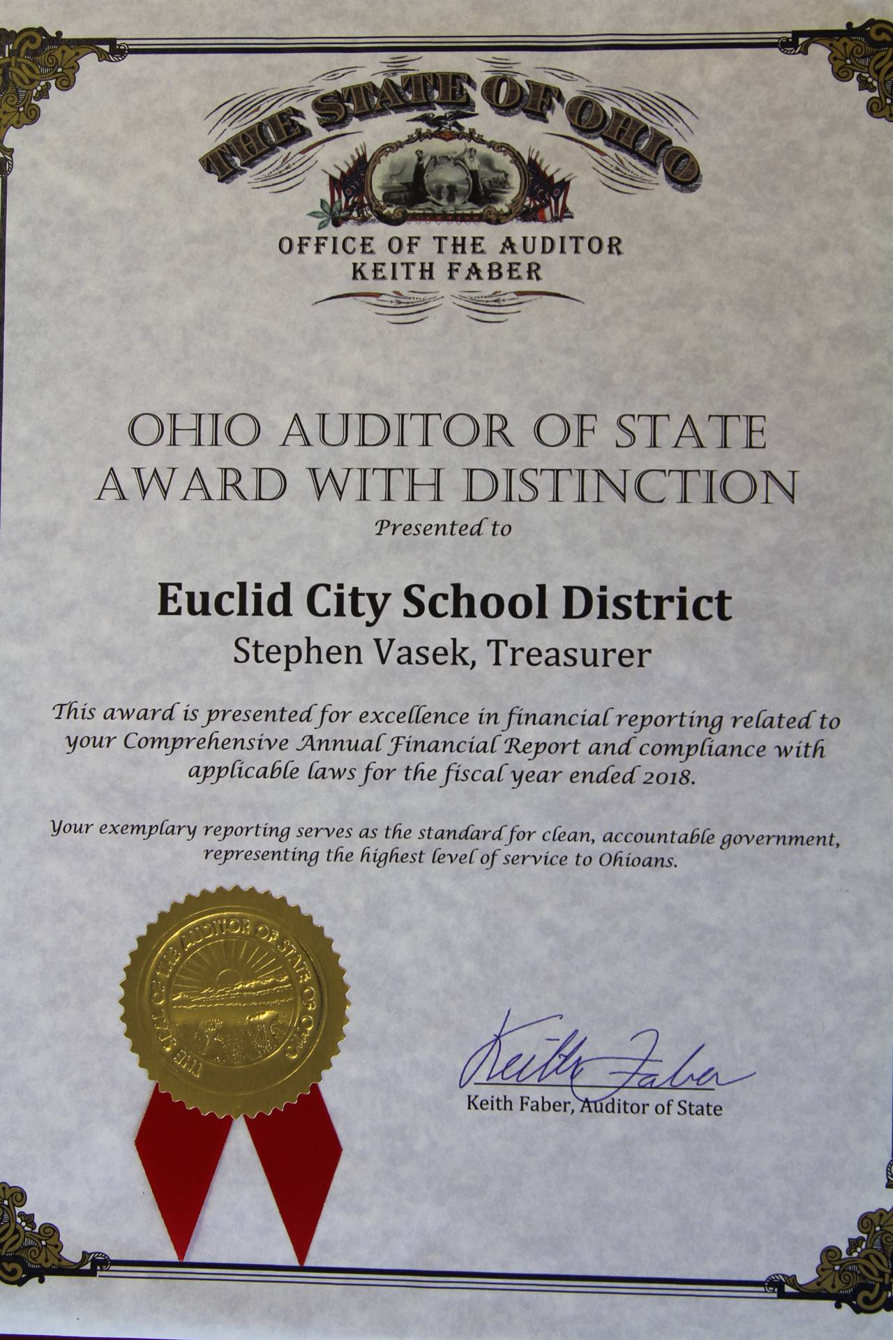 2018-19 Ohio Auditor of State Award with Distinction