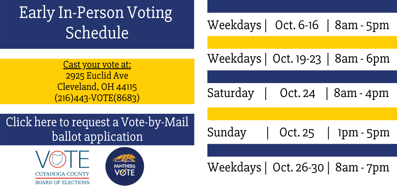 Blue and yellow early in-person voting schedule with blue and red BOE and blue and yellow panthers vote logo