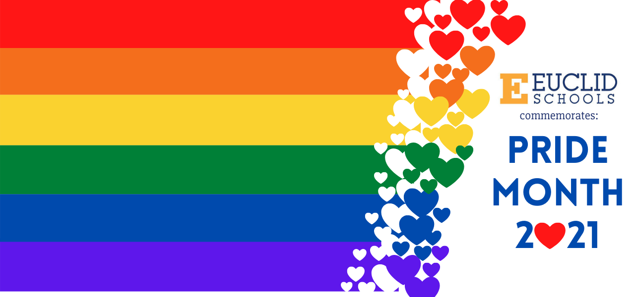 Pride colors with hearts and euclid logo with golden E